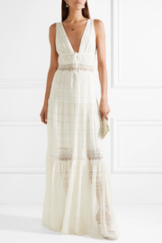 Lace-paneled embroidered silk-georgette maxi dress