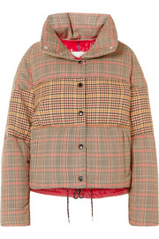 Paneled checked quilted wool-blend down jacket
