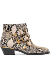 Chloé Susanna studded snake-effect leather ankle boots