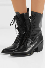 Rylee glossed-leather ankle boots