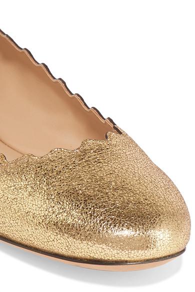 Chloé | Lauren Ballerinas aus Wellenkante Craquelé-Leder mit Metallic-Effekt und Wellenkante aus cd48ab