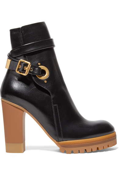 SUZEY GLOSSED-LEATHER PLATFORM ANKLE BOOTS
