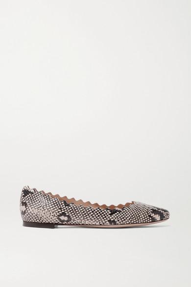 Lauren Scalloped Snake-print Leather Ballet Flats - Snake print Chlo WVx8ePz0h1