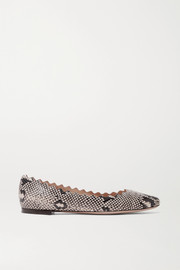 Lauren scalloped snake-print leather ballet flats