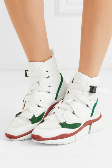 Sonnie Suede And Leather-trimmed Canvas And Mesh High-top Sneakers - White Chlo h2zMOaL