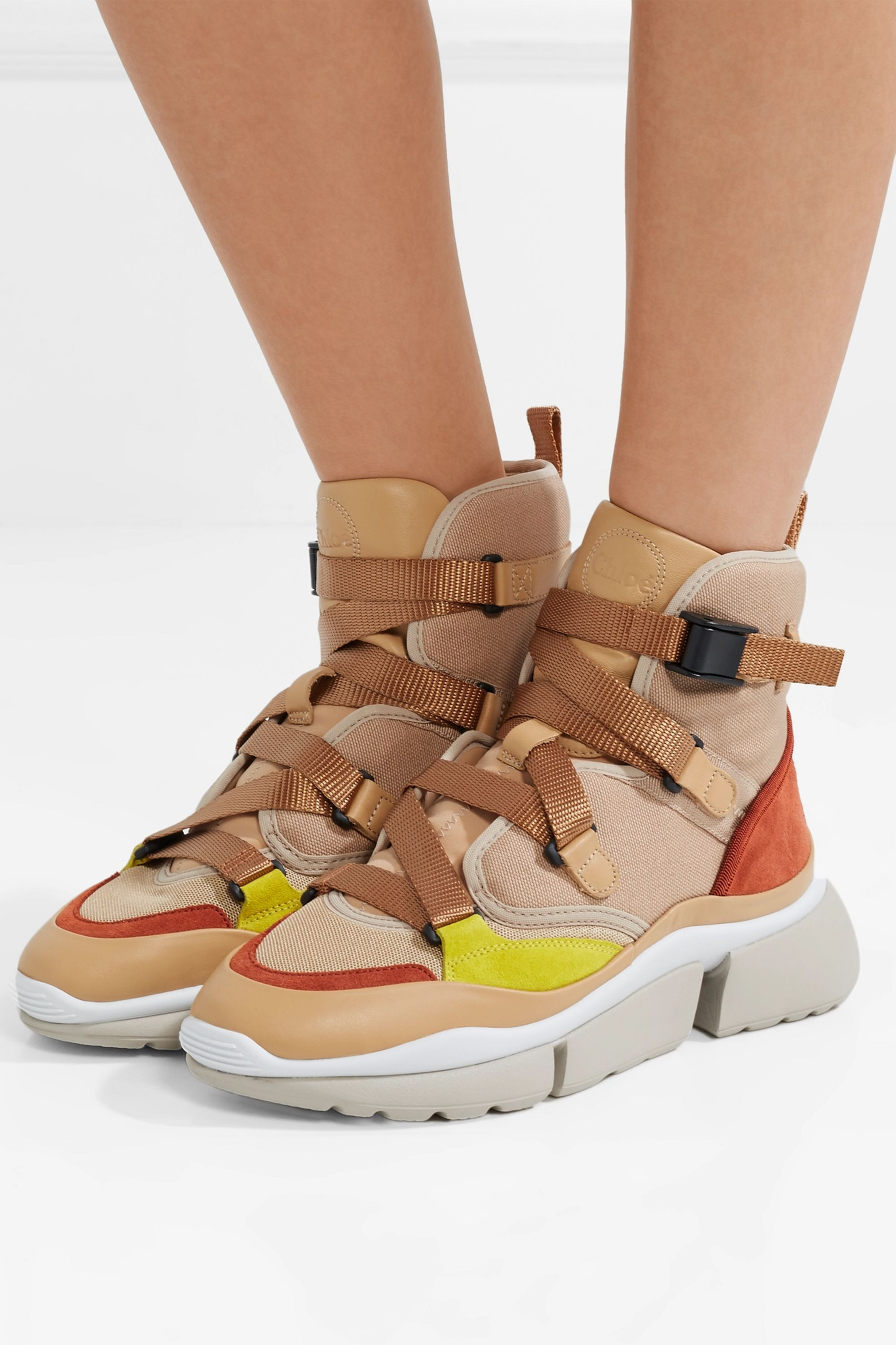 Chloé Sonnie canvas, mesh, suede and leather high-top sneakers