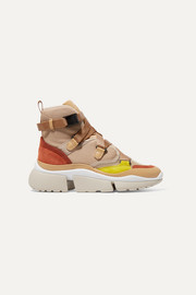 Chloé Sonnie High-Top-Sneakers aus Canvas, Mesh, Veloursleder und Leder
