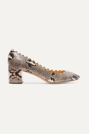 Lauren scalloped snake-effect leather pumps