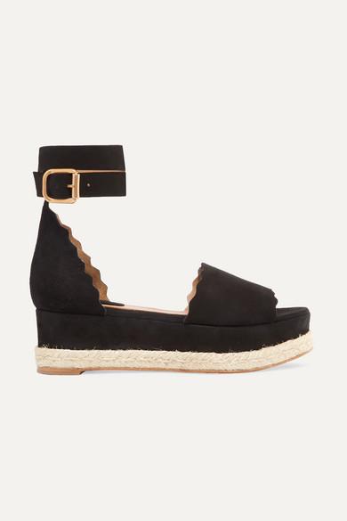 409b90af02 Chloé | Lauren scalloped suede espadrille platform sandals |  NET-A-PORTER.COM