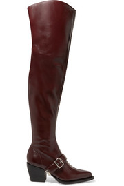 Rylee glossed-leather over-the-knee boots