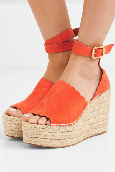 a933c191568 Lauren scalloped suede espadrille wedge sandals