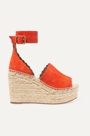 Chloé Lauren scalloped suede espadrille wedge sandals