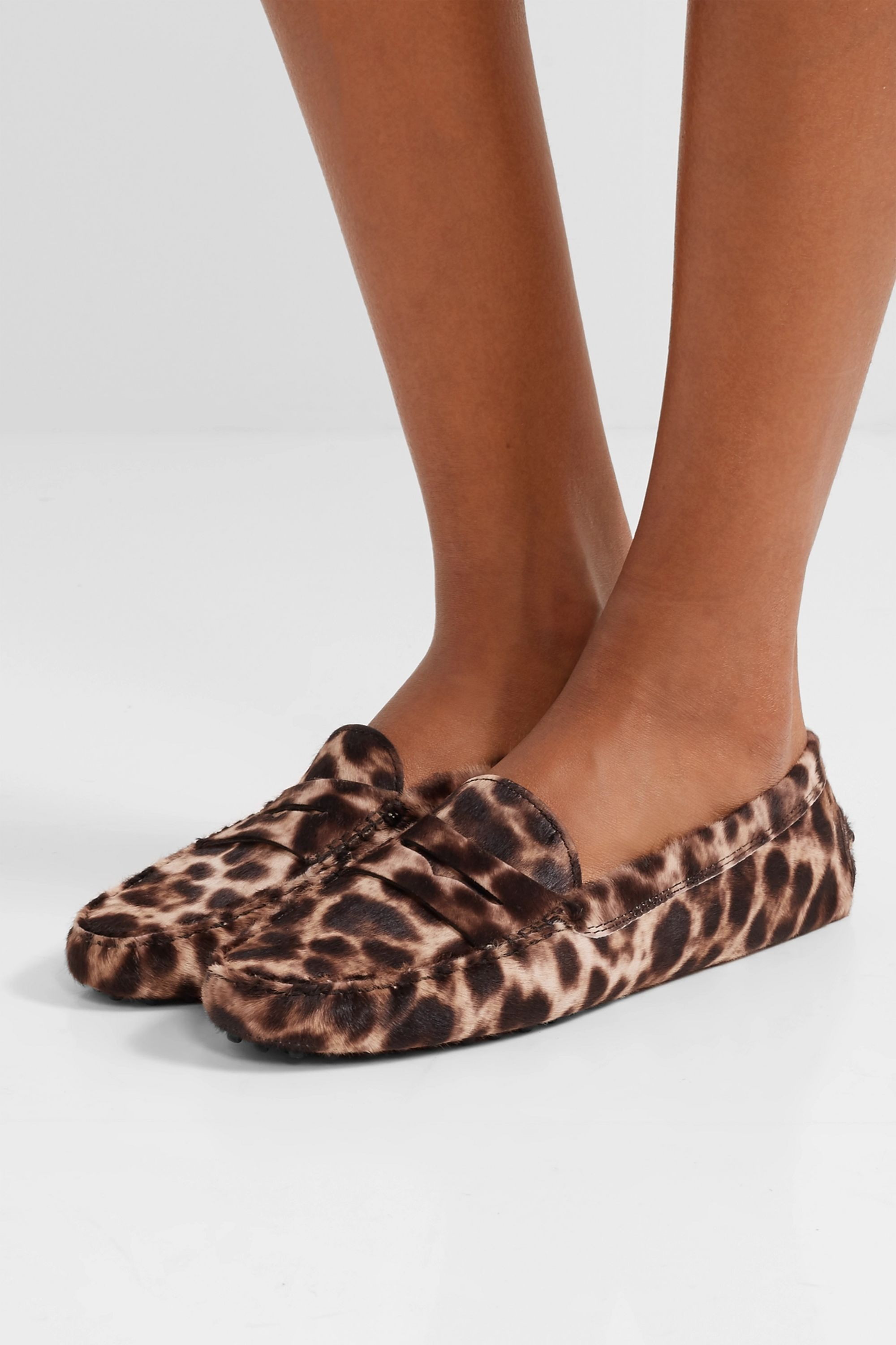 Tod's Gommino leopard-print calf hair loafers