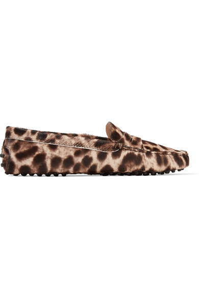Gommino Leopard-Print Calf Hair Loafers in Leopard Print