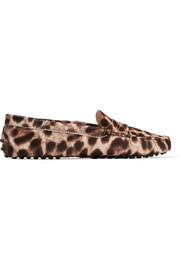 Gommino leopard-print calf hair loafers