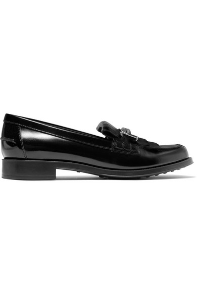 Fringed Embellished Glossed-Leather Loafers in Black