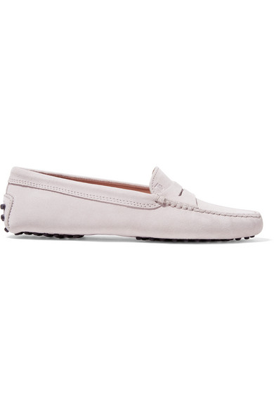 Gommino Suede Loafers, Light Gray