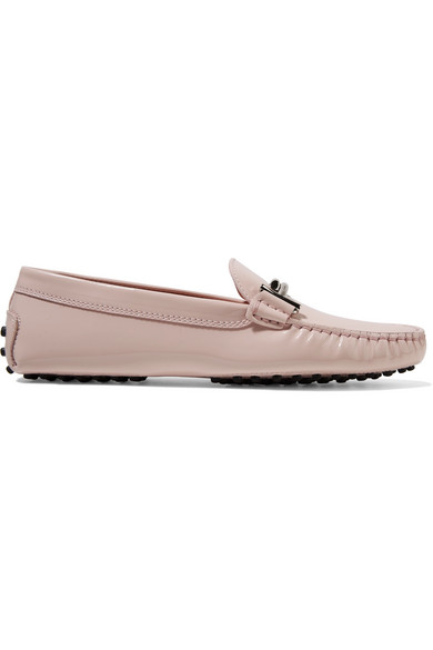 Tod's - Gommino Embellished Patent-leather Loafers - Pastel pink