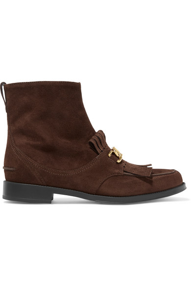 Chain Trimmed Fringed Suede Ankle Boots by Tod's