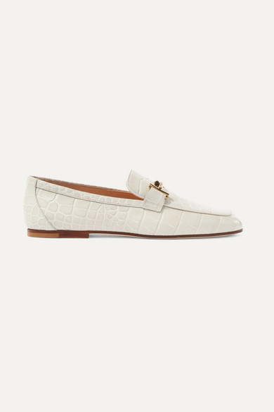 Tod's - Embellished Croc-effect Leather Loafers - Off-white