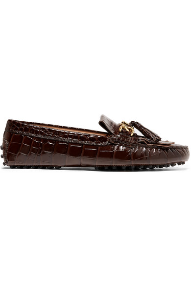 e7a72550350 Tod s. Gommino tasseled croc-effect patent-leather loafers