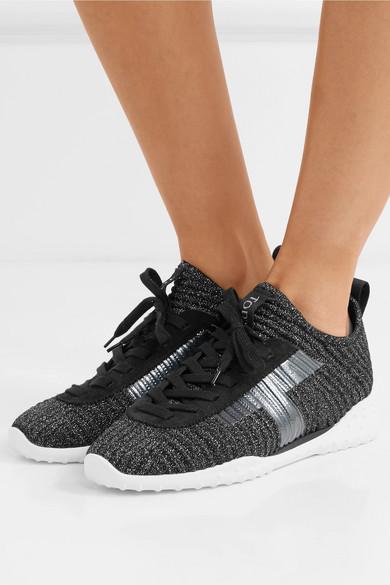 Tod's   Sneakers Stretch-Strick aus Veloursleder und Stretch-Strick Sneakers in Metallic-Optik 4e120b