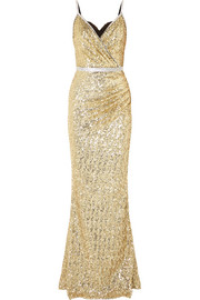 Crystal-embellished sequined stretch-satin gown