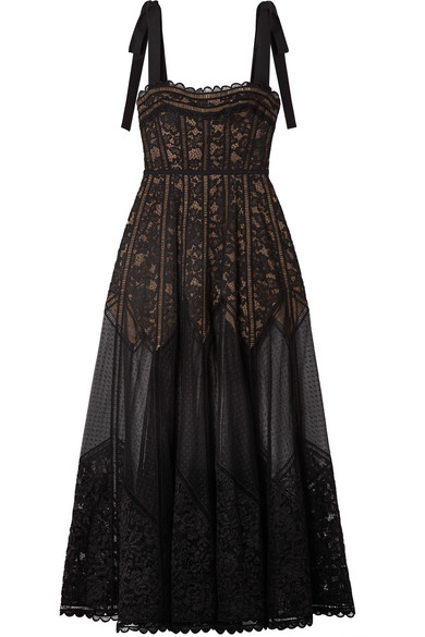 Elie Saab BOW-EMBELLISHED LACE, TULLE AND CREPE GOWN
