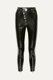 Glossed-leather skinny pants