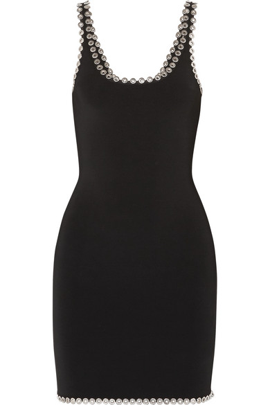 Eyelet Embellished Stretch Knit Mini Dress by Alexander Wang
