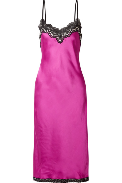 Embellished Lace-Trimmed Satin Midi Dress in Magenta from THE WEBSTER