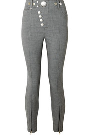Button-embellished houndstooth woven skinny pants