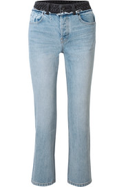 Cult Duo layered distressed high-rise straight-leg jeans
