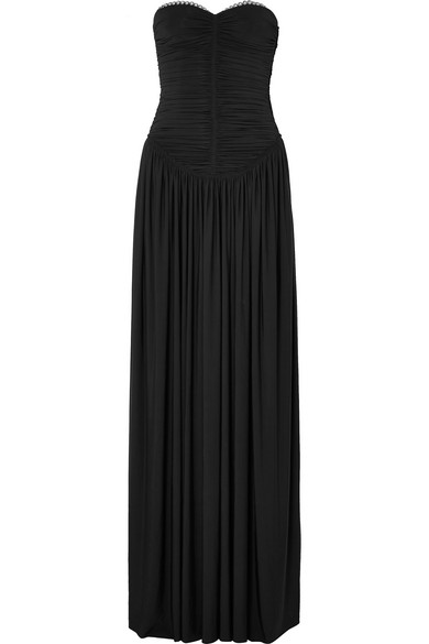 Eyelet-Embellished Ruched Stretch-Jersey Gown in Black