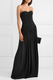 Eyelet-embellished ruched stretch-jersey gown
