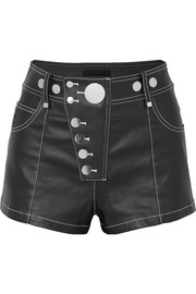 Embellished coated-denim shorts