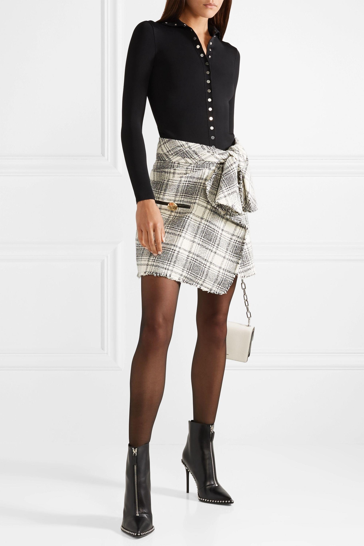 Alexander Wang Wrap-effect checked bouclé-tweed mini skirt