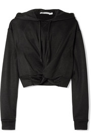 Cropped twist-front French terry hooded top
