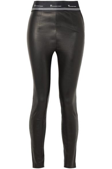 Alexanderwang.T Black Stretch Leather Logo Trousers