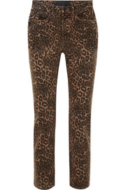 T by Alexander Wang Leopard-print mid-rise skinny jeans