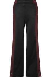 T by Alexander Wang Striped coated-French terry wide-leg track pants