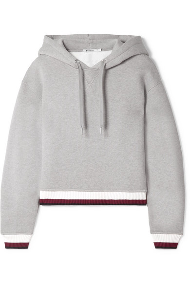 T by Alexander Wang - Cropped Cotton-blend Fleece Hoodie - Gray