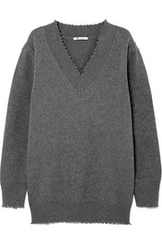 T by Alexander Wang Distressed cotton-blend sweater