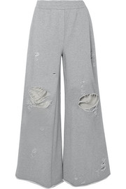 T by Alexander Wang Distressed French cotton-terry wide-leg track pants