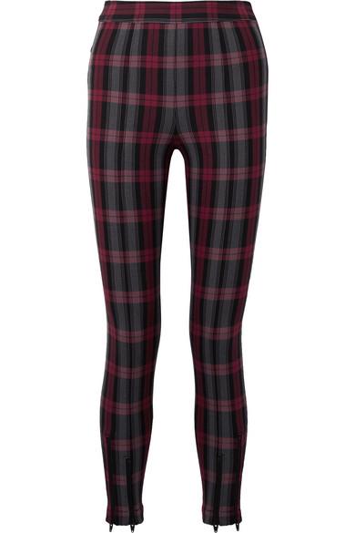 Zip-Embellished Plaid Cotton-Blend Twill Skinny Pants in Black