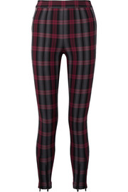Zip-embellished plaid cotton-blend twill skinny pants