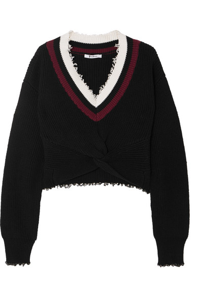 Cropped Frayed Cotton Blend Sweater by T By Alexander Wang