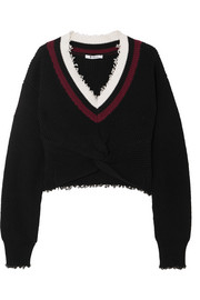 Cropped frayed cotton-blend sweater