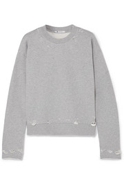 T by Alexander Wang Distressed French cotton-terry sweatshirt