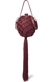 Leia leather-trimmed wicker and macramé shoulder bag